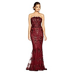 Quiz - Berry sequin embroidered fishtail maxi dress
