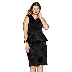 Quiz - Curve black glitter flock peplum midi dress