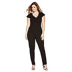 Quiz - Curve black frill front jumpsuit