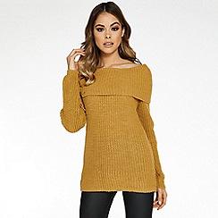 Quiz - Mustard bardot lace up jumper