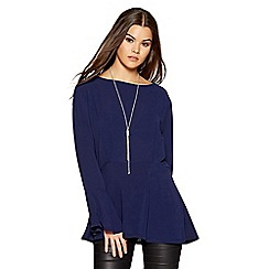 Quiz - Navy silver necklace frill sleeve top