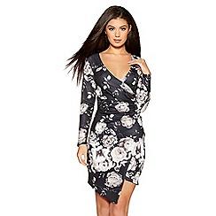Quiz - Black and grey floral bodycon dress