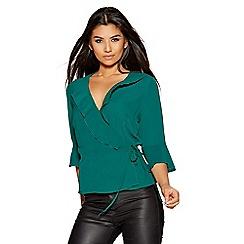 Quiz - Green crepe wrap side tie 3/4 sleeves top