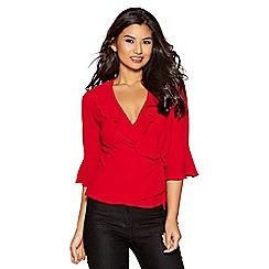 Quiz - Red crepe wrap side tie 3/4 sleeve top