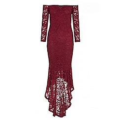 Quiz - Berry glitter lace v bar maxi dress