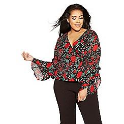 Quiz - Curve black and red chiffon polka dot top