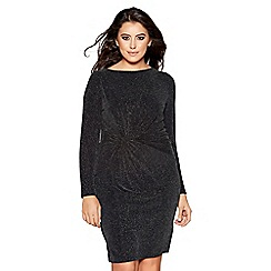 Quiz - Curve glitter long sleeves knot front dress