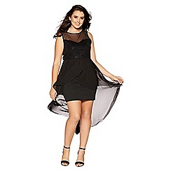 Quiz - Curve black glitter sweetheart neck dip hem dress