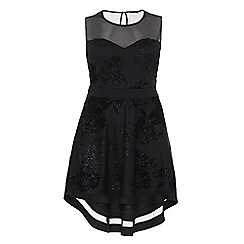 Quiz - Curve black floral print sweetheart neckline dress