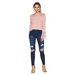 Quiz - Blue stretch rip detail jeans