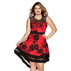 Quiz - Curve red and black floral print sweetheart neckline dress