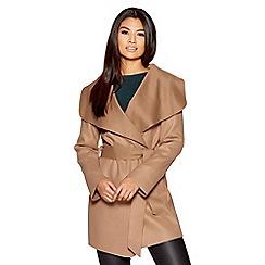Quiz - Camel tie belt long sleeves coat