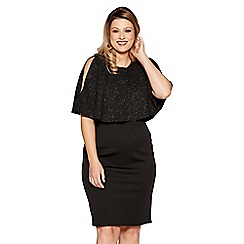 Quiz - Curve black glitter cape frill dress