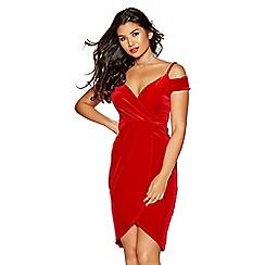 Quiz - Red velvet wrap with cold shoulder dress