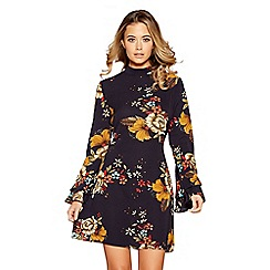 Quiz - Navy floral print crepe frill sleeves dress