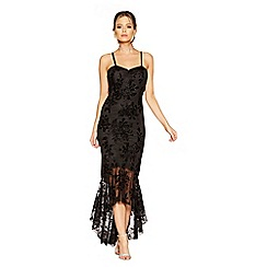 Quiz - Black mesh glitter strappy fishtail maxi dress