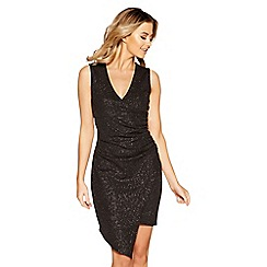 Quiz - Black glitter crepe asymmetric ruched dress