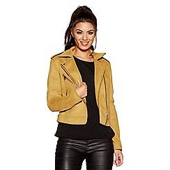 Quiz - Mustard faux suede biker zip detail jacket