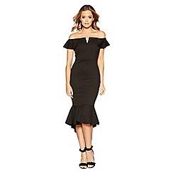 Quiz - Black crepe bardot v bar dip hem dress