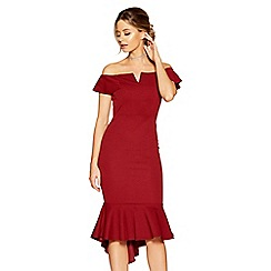 Quiz - Wine crepe bardot v bar dip hem dress