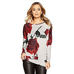 Quiz - Grey and red knit floral top