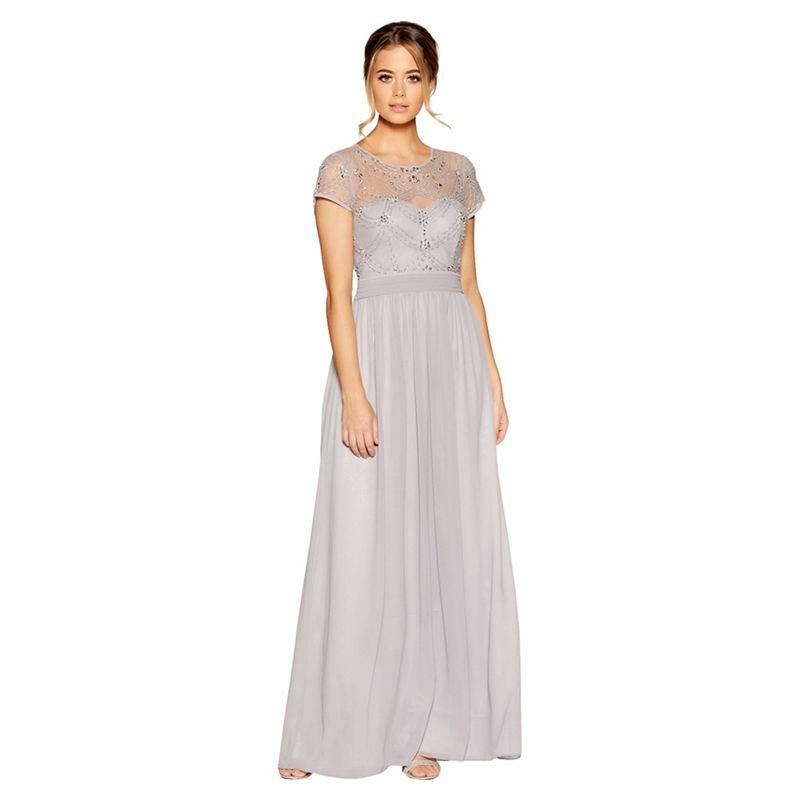 Quiz - Grey Chiffon Cap Sleeve Embellished Maxi Dress
