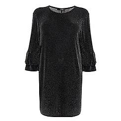 Quiz - Curve black glitter frill sleeve dress