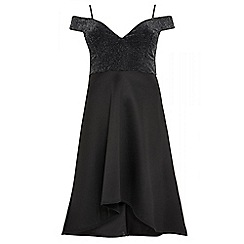 Quiz - Curve black glitter bardot dress