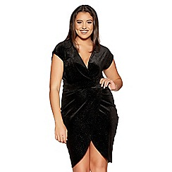 Quiz - Curve black velvet glitter wrap cap sleeves dress