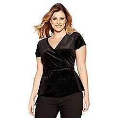 Quiz - Curve black glitter velvet wrap side tie top
