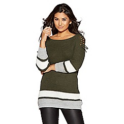 Quiz - Multi coloured knitted lace up shoulder jumper