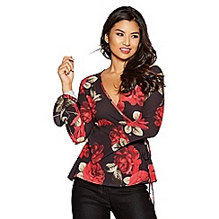 Quiz - Black and red floral crepe wrap front top