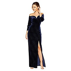 Quiz - Navy velvet glitter bardot maxi dress