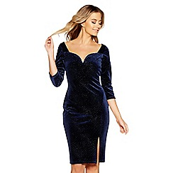 Quiz - Navy velvet glitter v bar dress
