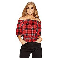 Quiz - Red and black check bardot top