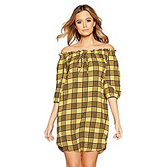 Quiz - Mustard and black check 3/4 sleeves tunic dress
