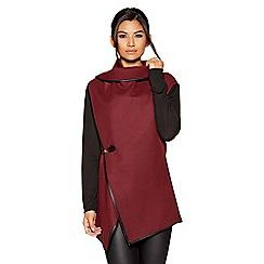 Quiz - Berry felt contrast sleeves jacket