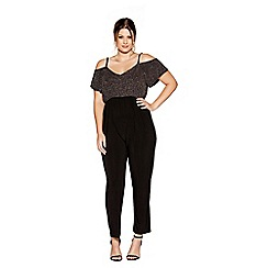 Quiz - Curve bronze glitter v neck cold shoulder jumpsuit