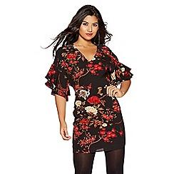 Quiz - Black and red crepe print mini dress