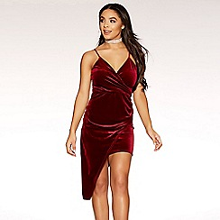 Quiz - Gabby´s wine velvet wrap front bodycon dress