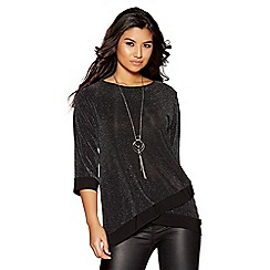 Quiz - Black and silver glitter necklace top
