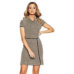 Quiz - Black and beige stretch tunic dress