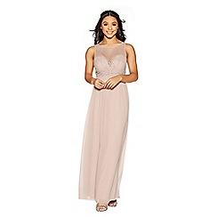 Quiz - Mocha chiffon embellished maxi dress