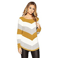 Quiz - Mustard, cream and grey stripe knitted jumper