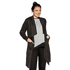 Quiz - Curve black light knit waterfall jacket