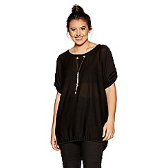 Quiz - Curve black light knit 3/4 sleeves necklace top