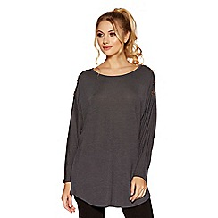 Quiz - Charcoal grey eyelet light knit top
