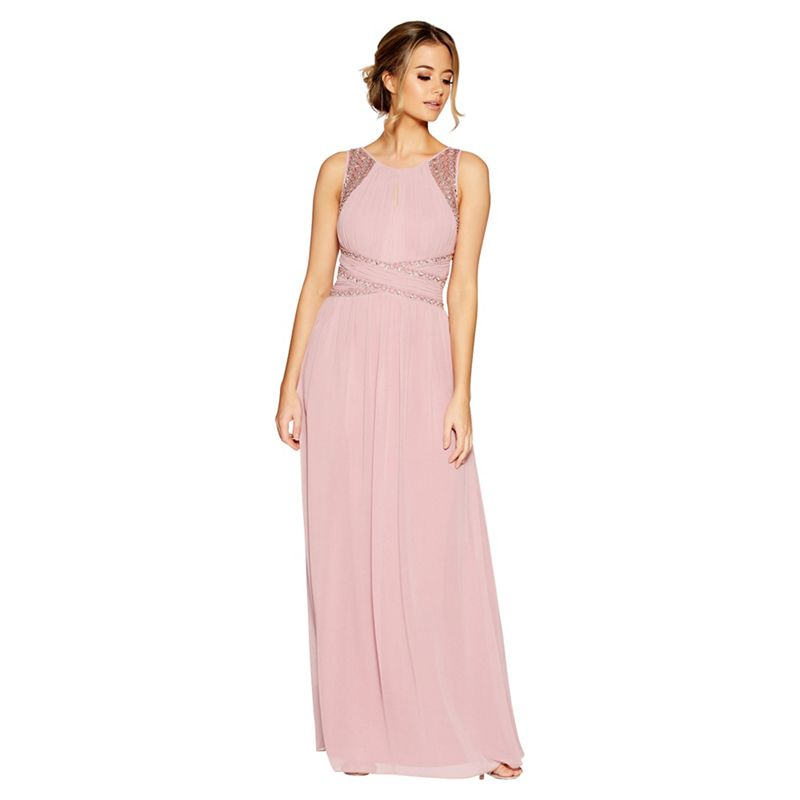 Quiz - Mauve Chiffon Embellished Maxi Dress