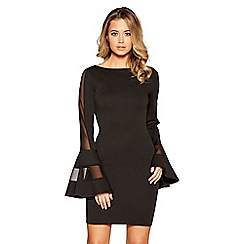 Quiz - Black mesh frill sleeves bodycon dress