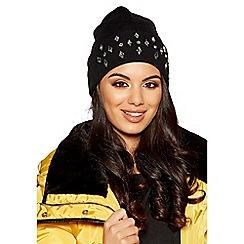 Quiz - Black diamante jewel beanie hat